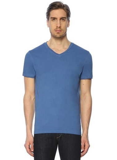 Boss V Yaka Tişört Mavi